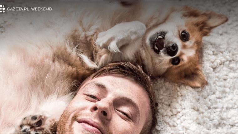 pies i człowiek leżą na dywanie